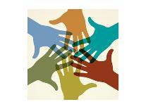 Colorful Raised Hands. the Concept of Diversity. Group of Hands. Giving Concept.-VLADGRIN-Art Print