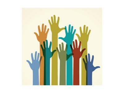 Colorful Raised Hands. the Concept of Diversity. Group of Hands. Giving Concept.
