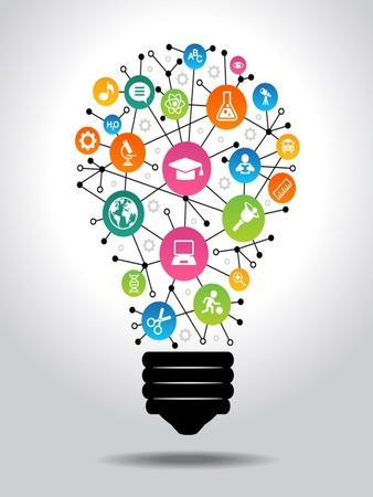 The Concept of Effective Education. Light Bulb with Colorful Education Icon. File is Saved in Ai10