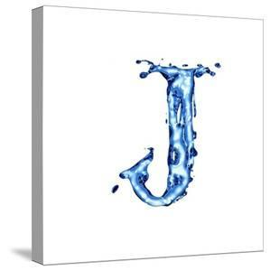 Blue Liquid Water Alphabet With Splashes And Drops - Letter J by -Vladimir-
