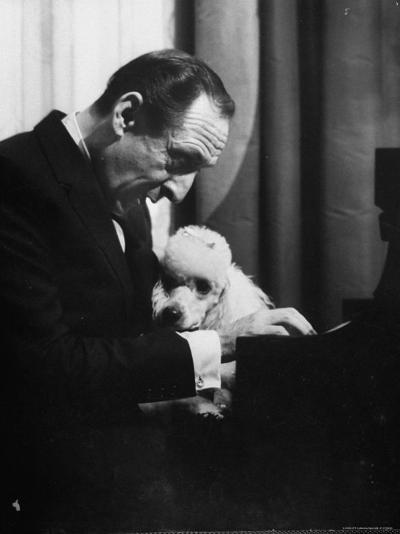 Vladimir Horowitz at the Piano with Poodle-Gjon Mili-Premium Photographic Print
