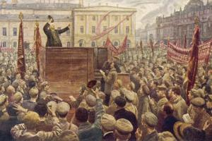 Vladimir Lenin Addressing a Moscow Crowd