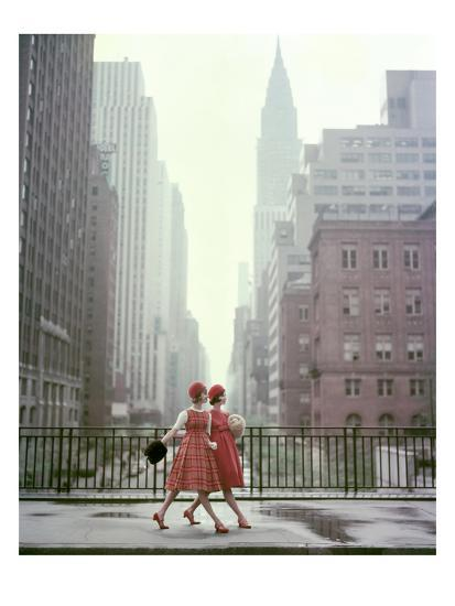Vogue - August 1958 - Taking A Stroll-Sante Forlano-Premium Photographic Print