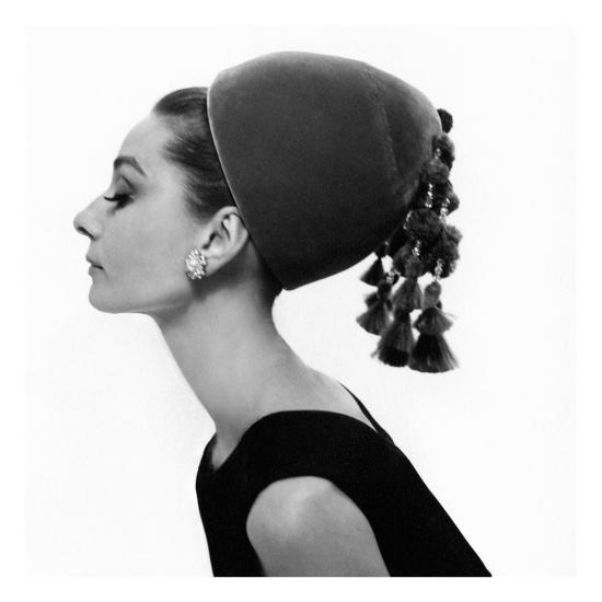 Vogue - August 1964 - Audrey Hepburn in Velvet Hat-Cecil Beaton-Premium Photographic Print