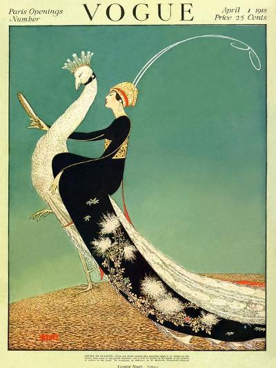 Vogue Cover - April 1918 - Peacock Parade-George Wolfe Plank-Premium Giclee Print