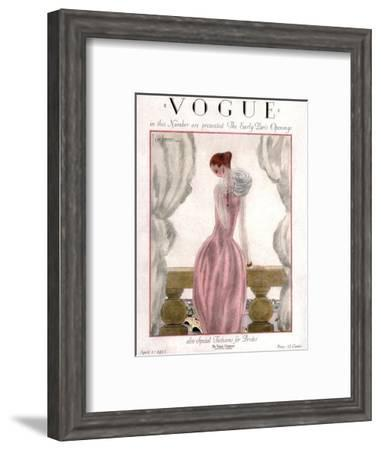 Vogue Cover - April 1923 - Pink Evening Gown-Georges Lepape-Framed Premium Giclee Print
