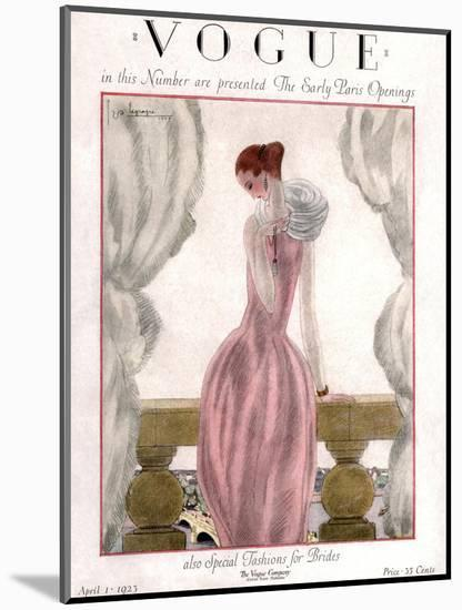 Vogue Cover - April 1923 - Pink Evening Gown-Georges Lepape-Mounted Premium Giclee Print