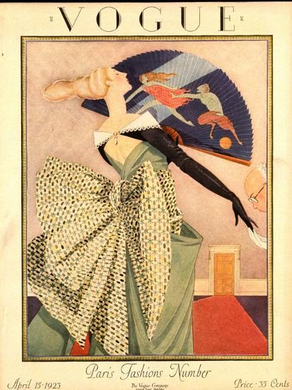 Vogue Cover - April 1923-George Wolfe Plank-Premium Giclee Print