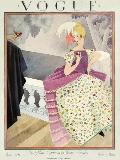 Vogue Cover - April 1924-George Wolfe Plank-Premium Giclee Print