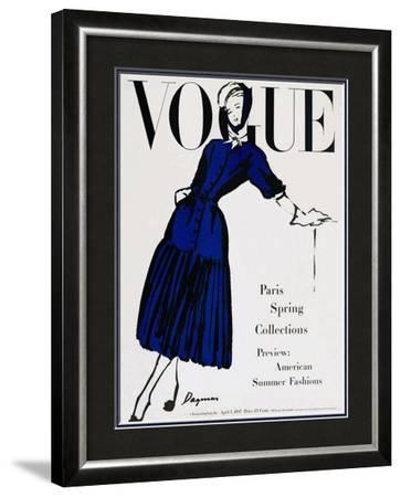 Vogue Cover - April 1947-Dagmar-Framed Art Print