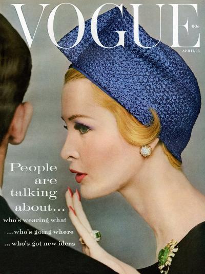 Vogue Cover - April 1959 - Talking Points-Richard Rutledge-Premium Giclee Print