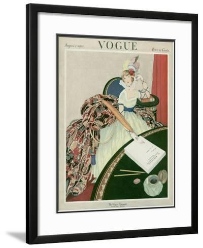 Vogue Cover - August 1921-George Wolfe Plank-Framed Giclee Print