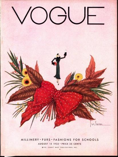 Vogue Cover - August 1932-Georges Lepape-Premium Giclee Print