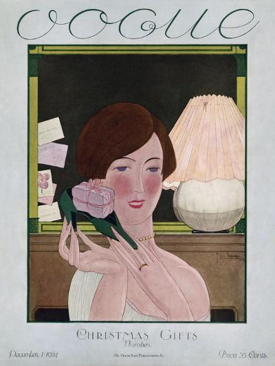Vogue Cover - December 1924-Georges Lepape-Premium Giclee Print