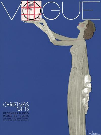 Vogue Cover - December 1930-Georges Lepape-Premium Giclee Print