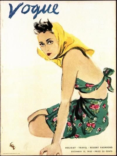 "Vogue Cover - December 1935-Carl ""Eric"" Erickson-Premium Giclee Print"