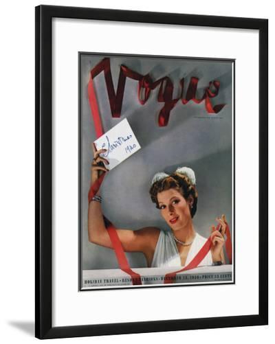 Vogue Cover - December 1940-John Rawlings-Framed Giclee Print