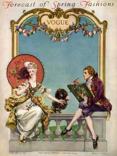 Vogue Cover - February 1914-Frank X. Leyendecker-Premium Giclee Print