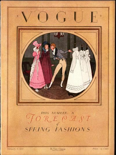Vogue Cover - February 1923-Pierre Brissaud-Premium Giclee Print