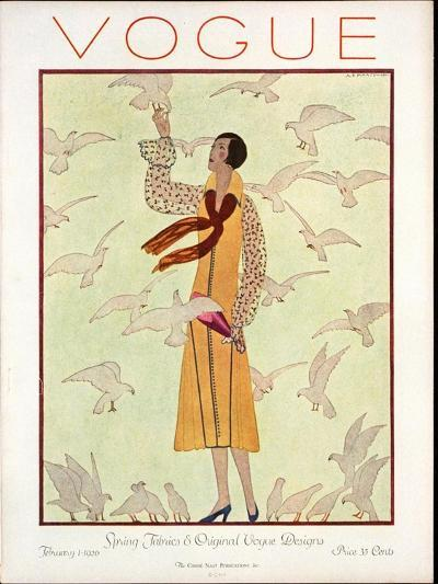 Vogue Cover - February 1926-Andr? E. Marty-Premium Giclee Print