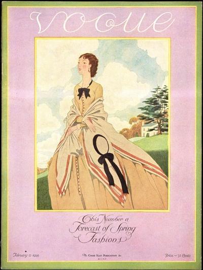 Vogue Cover - February 1926-Pierre Brissaud-Premium Giclee Print