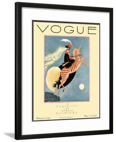 Vogue Cover - February 1927-George Wolfe Plank-Framed Giclee Print