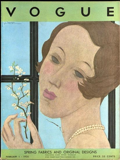 Vogue Cover - February 1930-Georges Lepape-Premium Giclee Print
