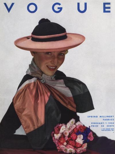 Vogue Cover - February 1934-George Hoyningen-Huen?-Premium Giclee Print