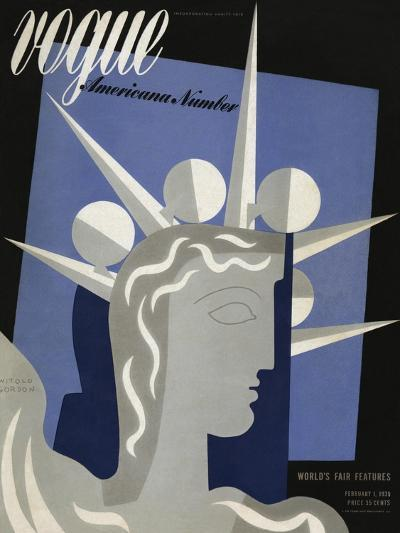 Vogue Cover - February 1939-Witold Gordon-Premium Giclee Print