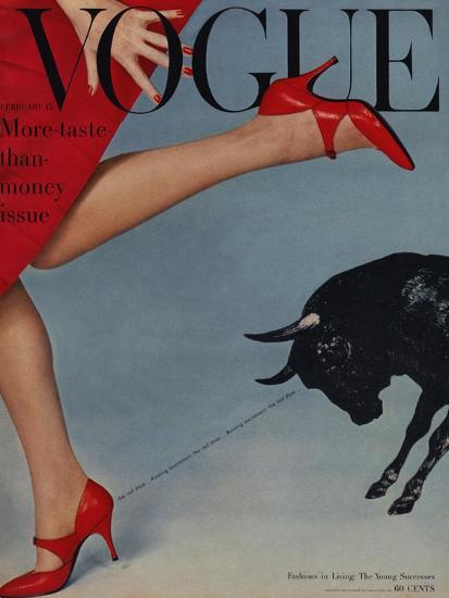 Vogue Cover - February 1958 - Running with the Bulls-Richard Rutledge-Premium Giclee Print