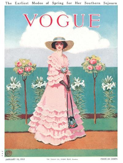 Vogue Cover - January 1912-Mrs. Newell Tilton-Premium Giclee Print