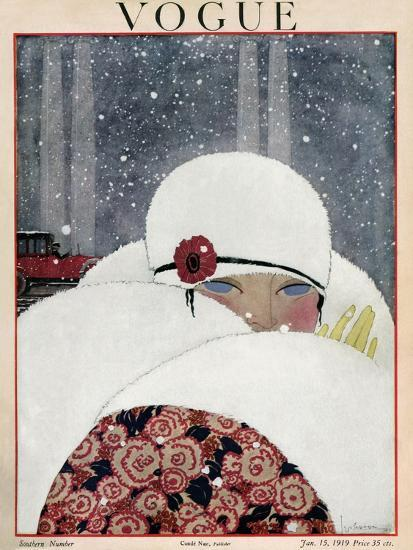 Vogue Cover - January 1919-Georges Lepape-Premium Giclee Print