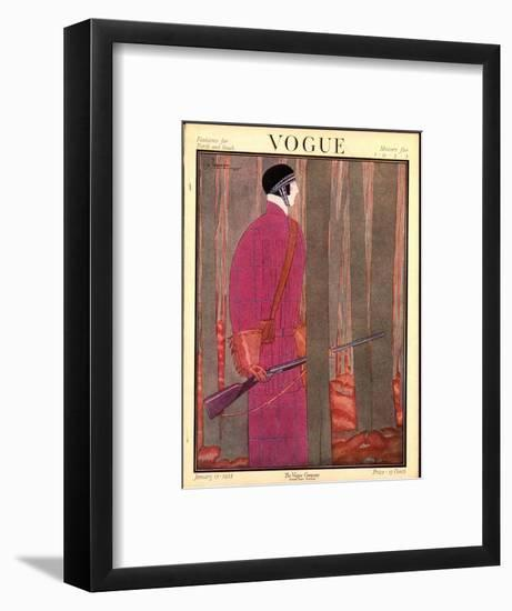 Vogue Cover - January 1923-Georges Lepape-Framed Premium Giclee Print