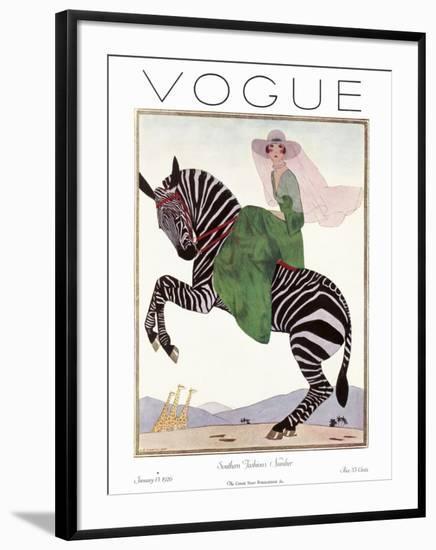 Vogue Cover - January 1926 - Zebra Safari-Andr? E. Marty-Framed Premium Giclee Print