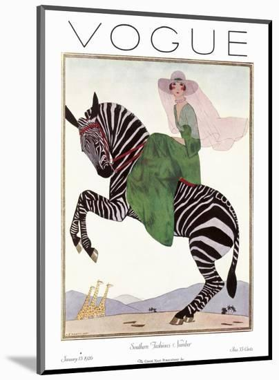Vogue Cover - January 1926 - Zebra Safari-Andr? E. Marty-Mounted Premium Giclee Print
