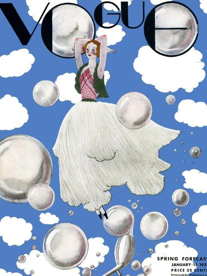 Vogue Cover - January 1932 - Clouds and Bubbles-Georges Lepape-Premium Giclee Print