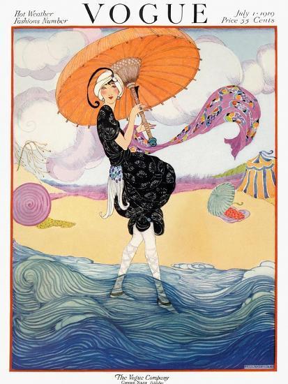 Vogue Cover - July 1919 - Seaside Stroll-Helen Dryden-Premium Giclee Print