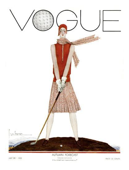 Vogue Cover - July 1929 - Tee Time-Georges Lepape-Premium Giclee Print