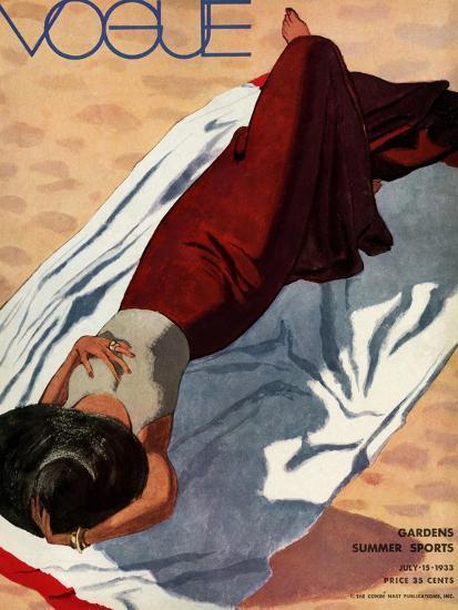 Vogue Cover - July 1933 - Beach Siesta-Pierre Mourgue-Premium Giclee Print