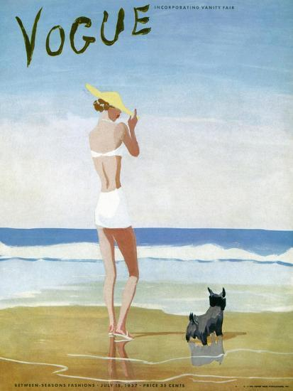 Vogue Cover - July 1937 - Beach Walk-Eduardo Garcia Benito-Premium Giclee Print