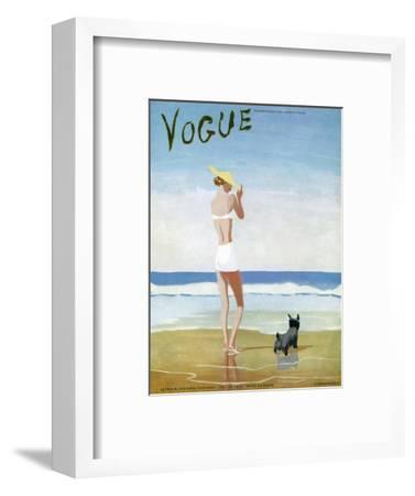Vogue Cover - July 1937 - Beach Walk-Eduardo Garcia Benito-Framed Premium Giclee Print