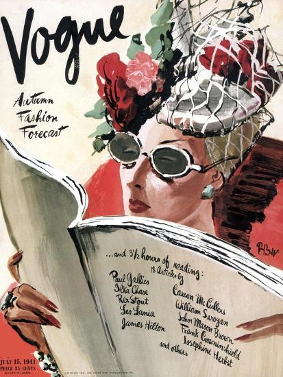 Vogue Cover - July 1941 - Summer Reading-Ren? Bou?t-Willaumez-Premium Giclee Print