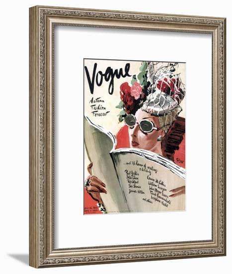 Vogue Cover - July 1941 - Summer Reading-René Bouét-Willaumez-Framed Premium Giclee Print