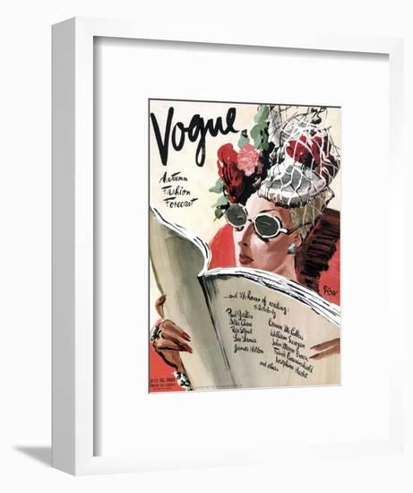 Vogue Cover - July 1941 - Summer Reading-René Bouét-Willaumez-Framed Premium Giclee Print