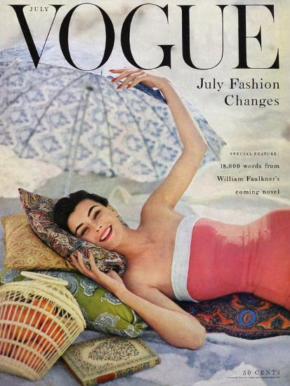 Vogue Cover - July 1954 - Beach Babe-Karen Radkai-Premium Giclee Print