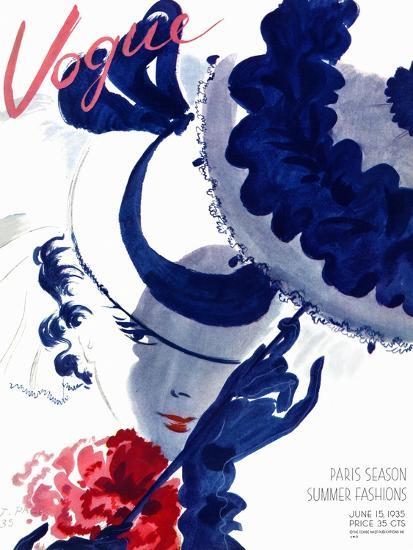 Vogue Cover - June 1935 - Paris Parasol-Jean Pag?s-Premium Giclee Print
