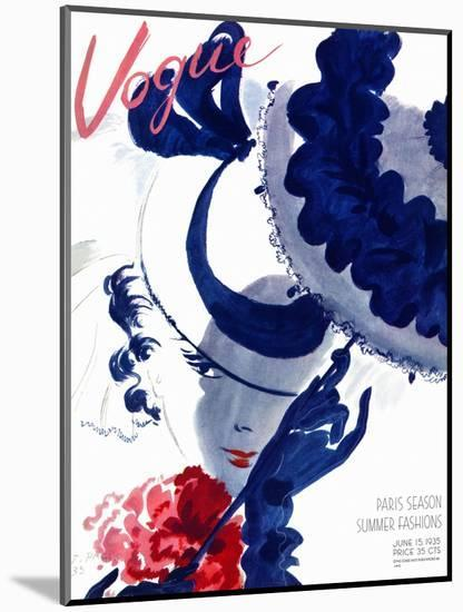 Vogue Cover - June 1935 - Paris Parasol-Jean Pagès-Mounted Premium Giclee Print