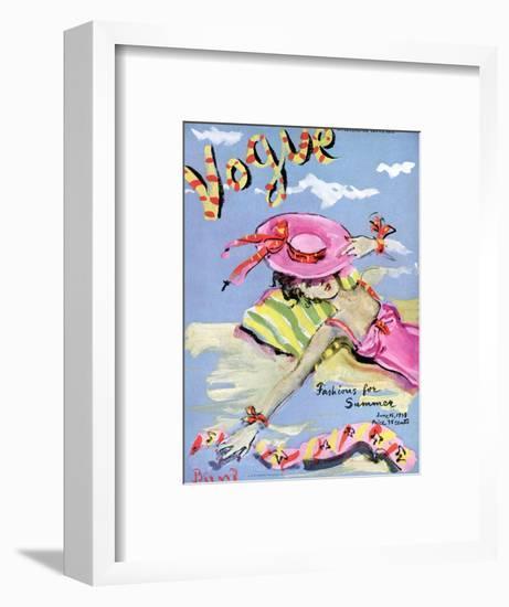 Vogue Cover - June 1939 - Sun Bathing-Christian Berard-Framed Premium Giclee Print