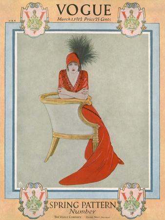 Vogue Cover - March 1912-Arthur Finley-Premium Giclee Print