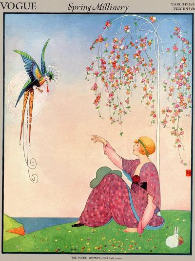 Vogue Cover - March 1914-George Wolfe Plank-Premium Giclee Print